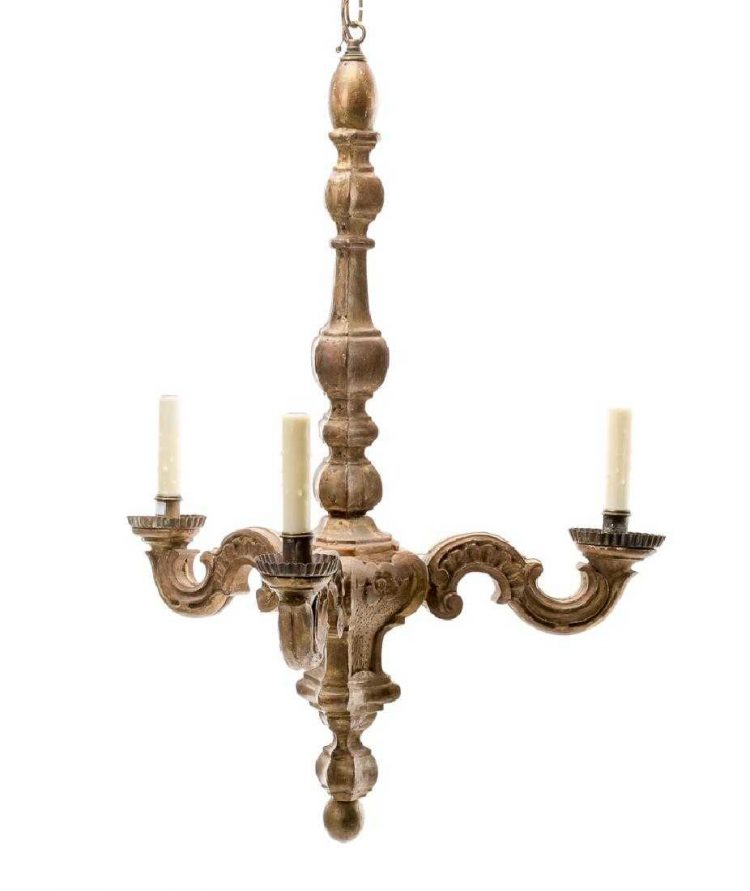 19c Italian Rococo Carved Giltwood Chandelier