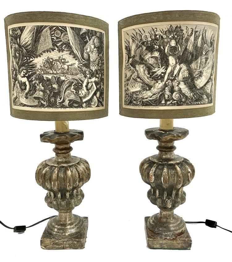 Pair of 19c Italian Fragment Lamps