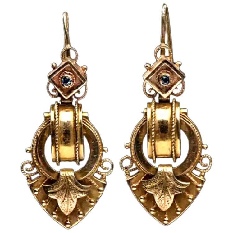Renaissance Revival 14 Karat Yellow Gold Drop Earrings