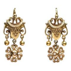 Renaissance Revial 14 Karat Yellow Gold Drop Earrings