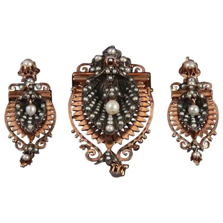 Victorian 18 Karat Rose Gold and Silver Earrings and Brooch