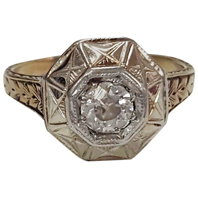 14 Karat White Gold Old Mine Cut Diamond Ring